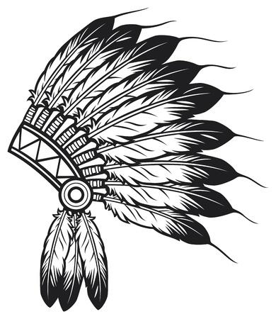 native american indian chief hoofdtooi indische leider mascotte, indische stammen hoofddeksel, indische hoofdtooi