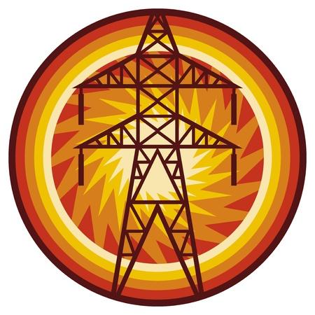torres de alta tension: línea eléctrica silueta símbolo de la línea eléctrica y torre eléctrica, señal de línea de transmisión, insignia línea eléctrica