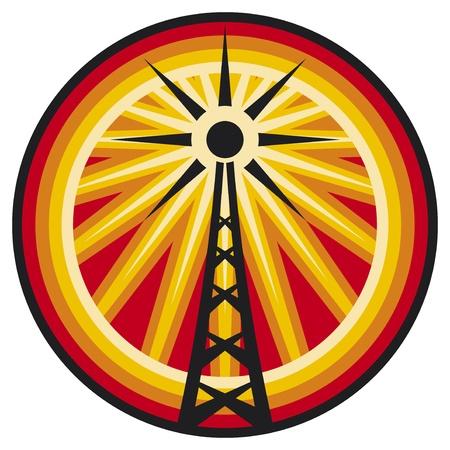 microwave antenna: antena de radio de radio s�mbolo traducci�n, wi fi icono, etiqueta torre de radio, se�al de conexi�n Vectores