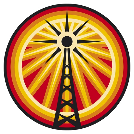 wireless tower: radio antenna symbol  radio translation sign, wi fi icon, radio tower label, connection sign  Illustration