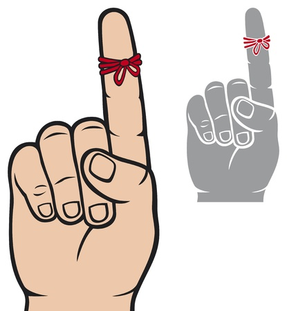 string around the finger reminder  reminder strings on finger, a piece of rope tied around the index finger, don t forget ribbon on index finger finger, reminder icon  Vector