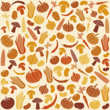 pumpkin tomato: seamless pattern with vegetables  vegetable background, vegetables seamless background, corncob, onion, tomato, mushroom, potato, chili pepper, beans, pumpkin, carrot