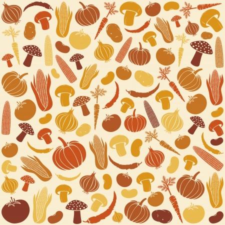 seamless pattern with vegetables  vegetable background, vegetables seamless background, corncob, onion, tomato, mushroom, potato, chili pepper, beans, pumpkin, carrot Stock Vector - 19067856