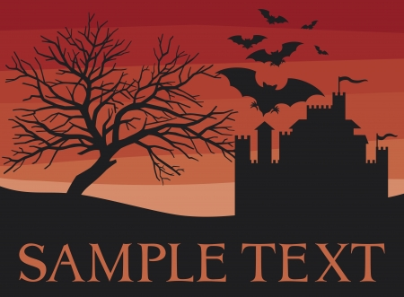 bats, scary black tree and old castle  flight of a bats, halloween night with bats flying, background with old castle for halloween party, halloween background, halloween background with old fortress  Vector