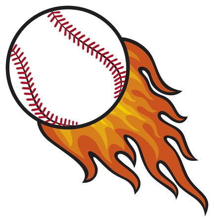 fast ball: baseball ball in fire Illustration