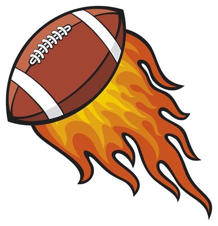 pelota rugby: rugby Pelota de fútbol americano en el fuego