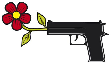 pacifist: The gun shoots flowers  vector illustration of pacifist pistol  Illustration