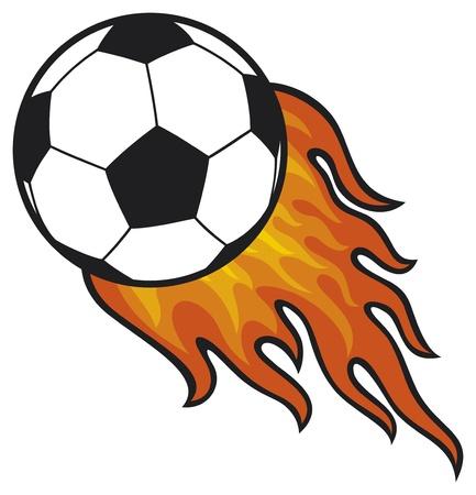 fútbol balón de fútbol en el fuego