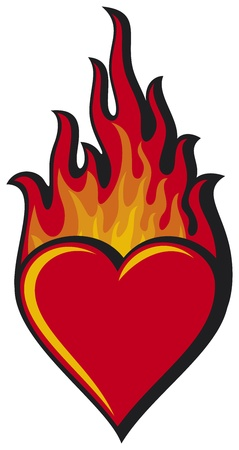 red love heart with flames: coraz�n llameante coraz�n en llamas Vectores
