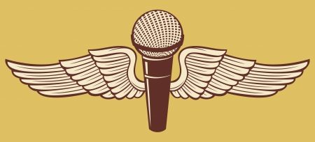 classic microphone and wings Stock Vector - 19189259