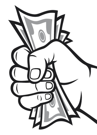 Money in the hand  Hand with money, Hand holding Banknotes   Vector