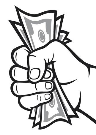 pieniądze: Money in the Hand RÄ™ka z pieniÄ™dzy, banknotów posiadania strony Ilustracja