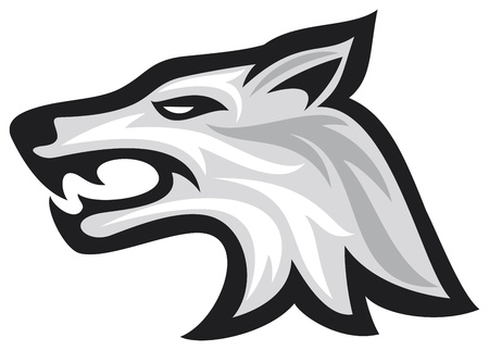 perro furioso: Ilustración del vector de la cara del lobo lobo cabeza