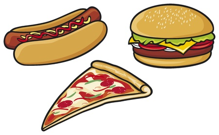 savory: fast food  hot dog, pizza, hamburger