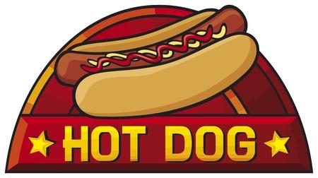 perro caliente: etiqueta de perro caliente perro caliente, dise�o, s�mbolo Vectores