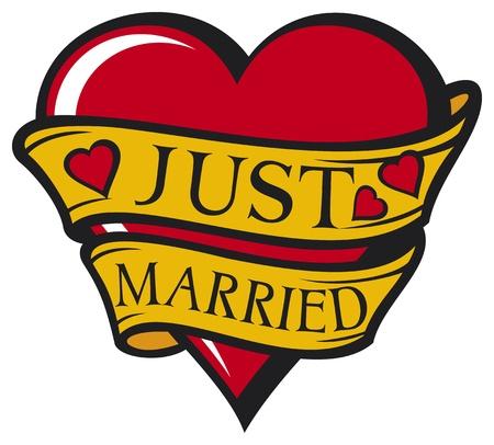 net getrouwd: Net getrouwd ontwerp hart Stock Illustratie