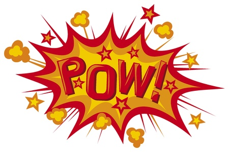 superhero: cartoon - pow  pow comic book illustration