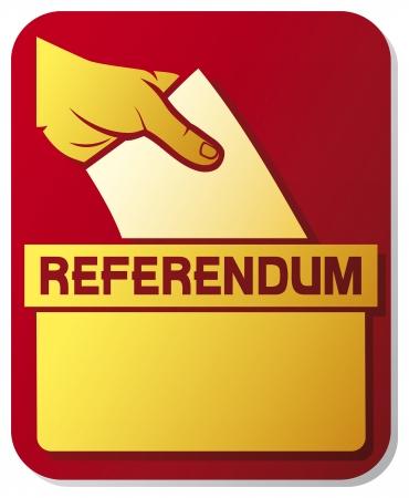 voting ballot: votar en el refer�ndum - ilustraci�n de un cuadro de la boleta poner una balota de votaci�n en una ranura de la caja, la mano del hombre s abajo de la papeleta en la urna, la votaci�n a mano