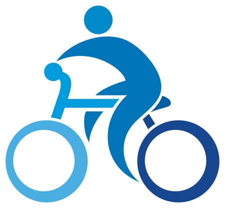 training wheels: cyclist icon  bicycle symbol, cycling sign, bicycler, bike sign  Illustration