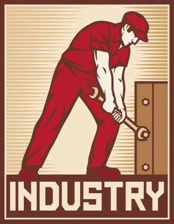 communism: worker holding wrench - industry poster  industry design, worker holding a spanner, construction worker, poster for labor day, male worker with wrench tool
