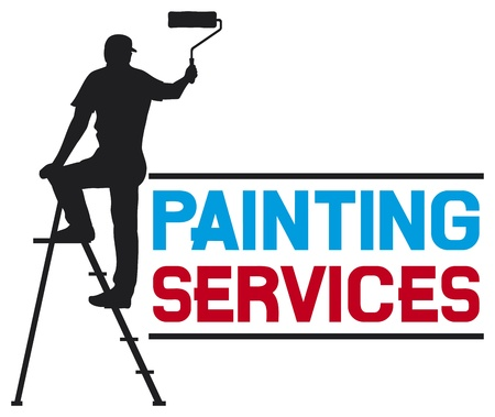 man painting: painting services design - illustration of a man painting the wall  painter painting with ladder, silhouette of a painter, painting services symbol