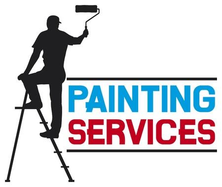 hombre pintando: servicios de pintura de diseño - ilustración de un hombre que pinta la pintura pintor pared con escalera, la silueta de un pintor, pintura símbolo servicios Vectores