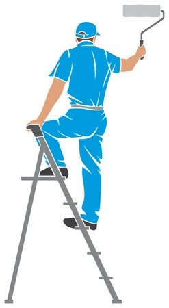 painter: illustration of a man painting the wall  painter painting with ladder, silhouette of a painter, painting services design