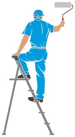 interior decorating: illustrazione di un uomo dipinto del pittore pittura parete con scaletta, la sagoma di un pittore, pittura disegno servizi