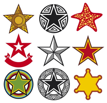 set of vector stars  star collection  Vector