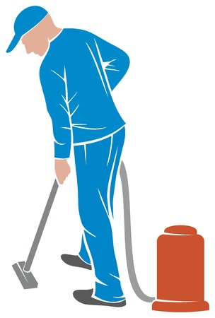 vacuuming: professional carpet steam  man and a carpet cleaning machine, vacuum cleaner worker, cleaner vacuuming  Illustration