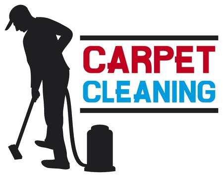 rugs: carpet cleaning service design  professional carpet steam label, man and a carpet cleaning machine, vacuum cleaner worker, cleaner vacuuming symbol  Illustration