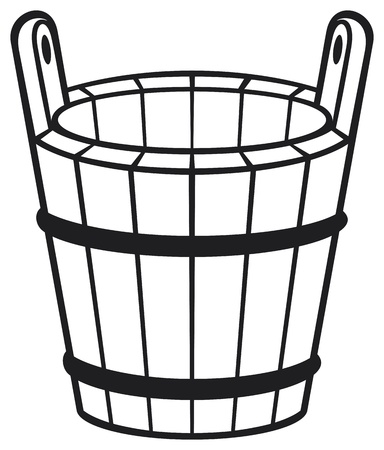 wooden barrel: wooden bucket Illustration