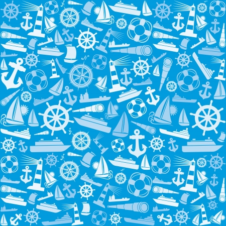 nautical and marine icons seamless background  marine icons pattern abstract seamless texture, seamless nautical icons pattern  Vector
