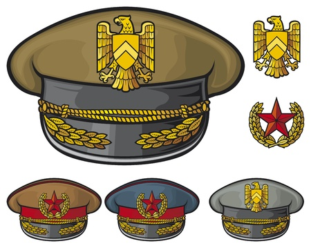 military hats  military officer s caps, army caps  Vector