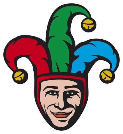 buffoon: jester head  smiling joker