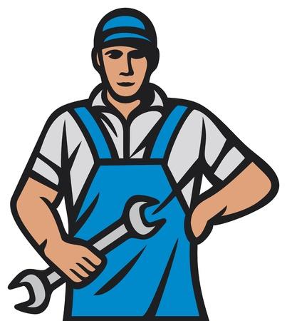 auto monteur: professionele werker automonteur werknemer Stock Illustratie