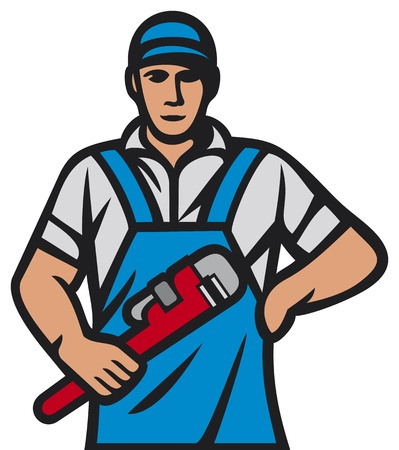 pipe wrench: plumber holding a wrench