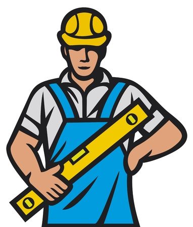 maintenance man: construction worker  construction man, builder man  Illustration