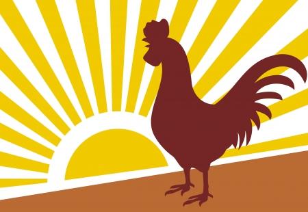オンドリおよび夜明けの朝太陽オンドリ  イラスト・ベクター素材