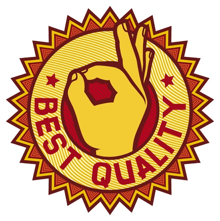 best quality symbol - man hand showing ok  label, sign, stamp  Stock Vector - 20010580