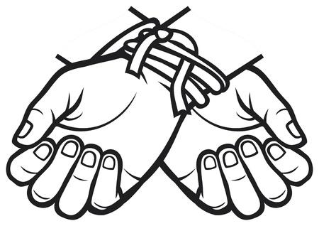 struggle: hands tied