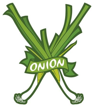lowbrow: cipolla verde etichetta verde, cipolle fresche, verdi simbolo cipolle, cipolle verdi segno Vettoriali