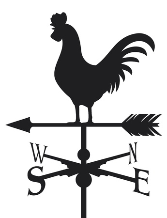 meteo: gallo banderuola segnavento silhouette, tempo gallo segnavento Vettoriali
