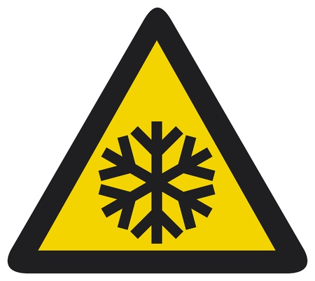 Snow warning sign  Risk of Ice warning sign  Vector