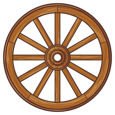 wagon wheel: old wooden wheel