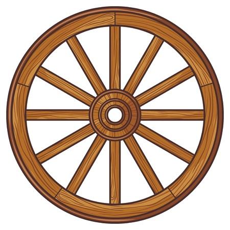 campo: rueda de madera vieja