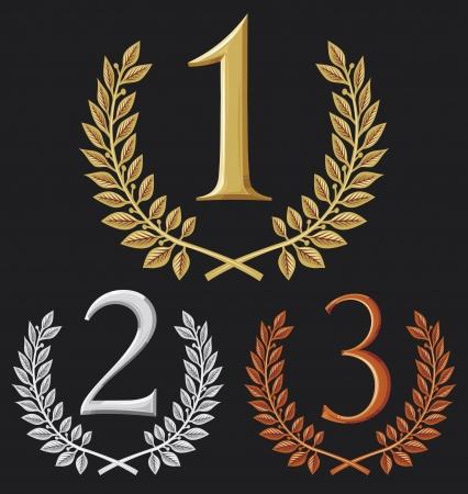 eerste plaats, tweede plaats en derde plaats set van gouden, zilveren en bronzen symbolen