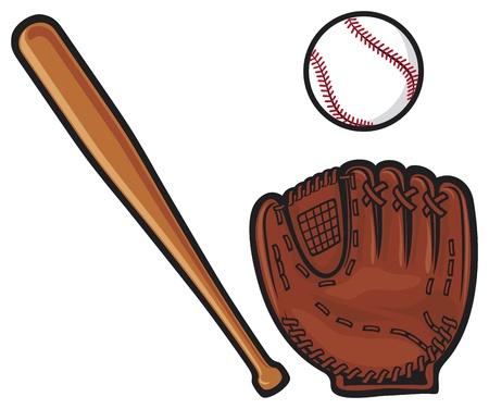 honkbal handschoen, bal en knuppel