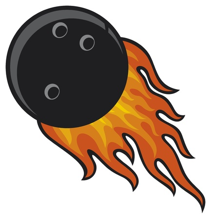 one lane: bowling ball in fire Illustration