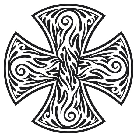 iron cross: cross  cross tribal tattoo